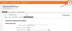 Настройки профиля в Google Analytics